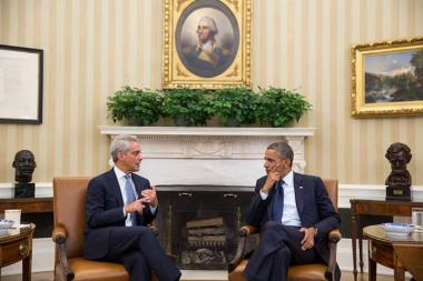 Mayor Rahm Emanuel stopped by the White House Monday to talk with President Barack Obama before participating in a panel on immigration reform.