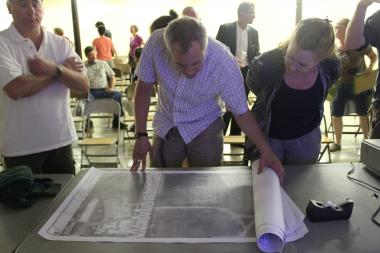 Horner Park patrons met in the park's field house to discuss renovation of the riverbank.