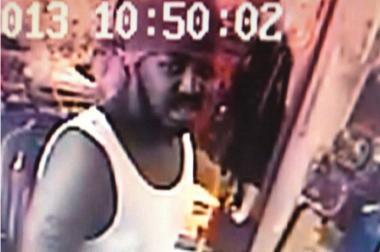 Chicago police released this image from surveillance video of the man they said beat a store clerk with a baseball bat because the store didn't have size XXXL T-shirts.