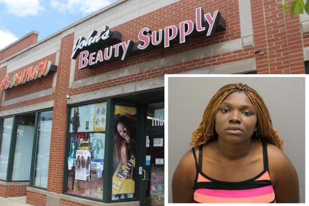 Timesha Brown, 21, made off with $5,000 worth of hair extensions with her accomplice, prosecutors said.
