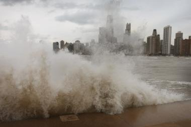 "Waves from last fall's ""Frankenstorm"" pummeled the lakefront."