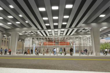 A rendering of what the Wilson train station will look like when completed.