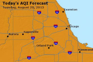 "The Illinois Environmental Protection Agency expects the air quality level to be at ""orange"" on Tuesday, meaning it could be unhealthy for certain groups of people."