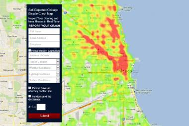 A screenshot of the bike crash map web app. Cyclists can use it to report accidents or near-misses.