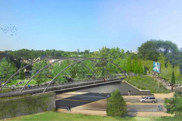 Work is expected to resume soon on a park at 1805 N. Milwaukee Avenue in Bucktown that will serve as an entry park to the Bloomingdale Trail.