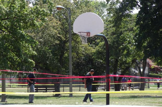 A 22-year-old man was critically wounded in a shooting at Brainerd Park in Washington Heights.