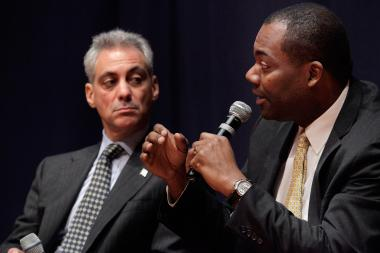 Former CPS CEO Jean-Claude Brizard (r.) said Mayor Rahm Emanuel needs to let go and let his managers lead