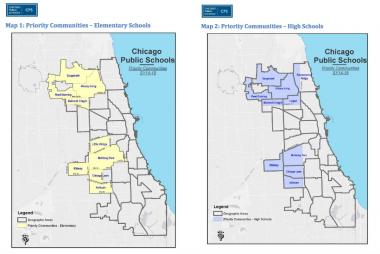 The maps of priority community areas for new elementary schools (l.) and new high schools, as outlined in CPS' request for proposals for new charter schools.