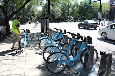 The first Divvy Bikes were installed at the bike-sharing racks in Hyde Park in August.