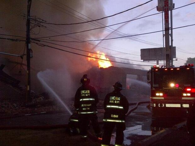 A fire in East Garfield Park destroyed several businesses Saturday night.