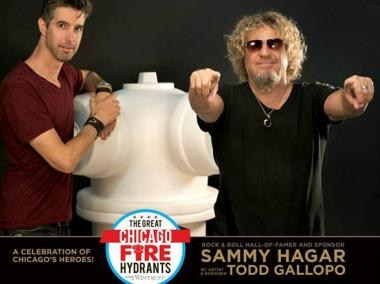 As part of the The Great Chicago Fire Hydrant campaign to benefit the families of first responders, Sammy Hagar (r.) will bring a fire hydrant on stage at his concert this month at Northerly Island. The hydrant was decorated by Todd Gallopo (l.), the Grammy-nominated artist who designed album covers for Hagar's band, Chickenfoot.
