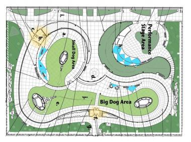 A rendering of the proposed design for Fred Anderson Park, including separate large and small dog-friendly areas, a performance space and shade sails (light blue on rendering).
