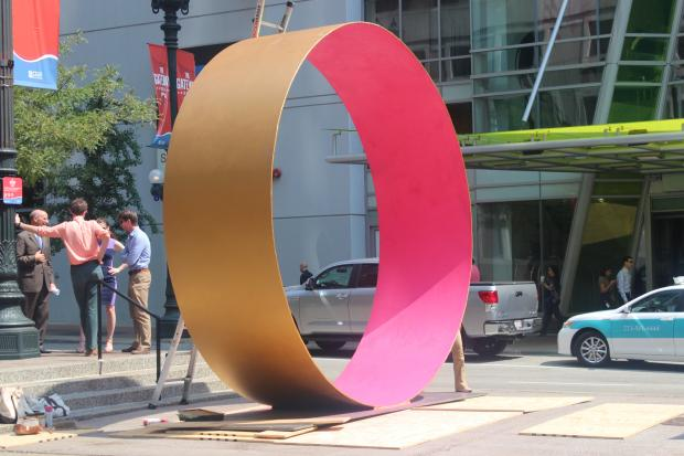 "Public artist Dusty Folwarczny has given ""Give"" to the Loop."