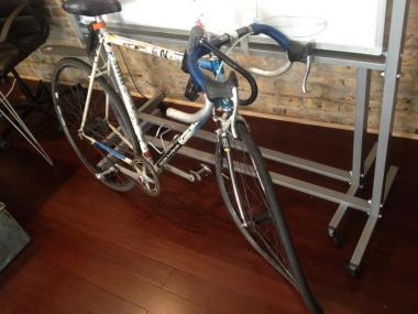 Jana Kinsman, 27, posted a photo of her bike on Twitter Tuesday afternoon. The front wheel needs new rims and spokes; the fork and headset may also be damaged.