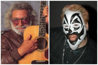 The late Jerry Garcia of the Grateful Dead (l.)  and Violent J of horrorcore duo Insane Clown Posse.