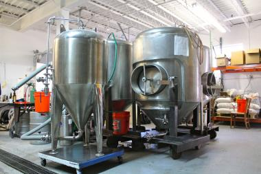 The main fermenters at Lake Effect Brewing