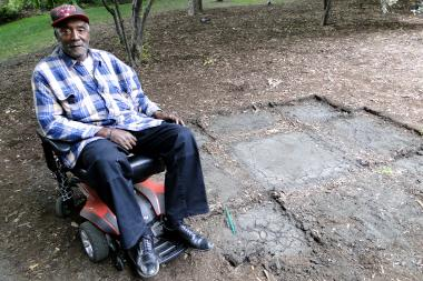 "Leroy Garry witnessed the removal of Wicker Park's chess tables around 9 a.m. Wednesday.  The 72-year-old man cannot sit at the new tables because they offer no back support like the chess table's concrete bucket seats did. ""I  lost my second chair,"" Garry said."