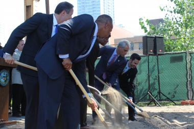 Mayor Rahm Emanuel and Transportation Commissioner Gabe Klein (r.) join in the groundbreaking ceremony for the new CTA stop at Cermak-McCormick Place.