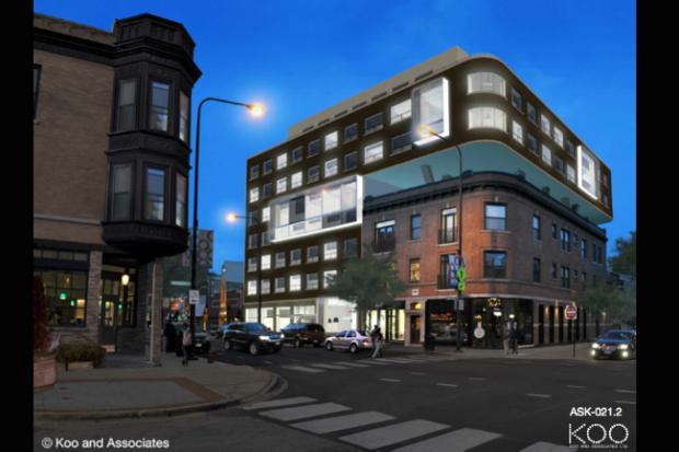 Parkview Developers debuted another rendering of the Out Hotel on Wednesday, Aug. 14, 2013 after Belmont Harbor Neighbor's board unanimously rejected a downsized plan.