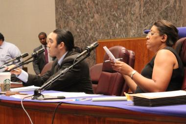 CTU researcher Pavlyn Jankov testfies before the City Council's Education Commmittee and Chairman Latasha Thomas.