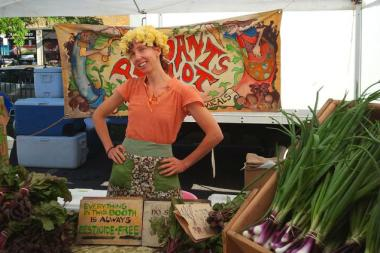 Julia McDonald, co-owner of Peasants' Plot Organic Farm, can usually be found at the Lincoln Square farmers market. Catch her in her natural habitat at  Blue Sky Bakery's farm brunch.