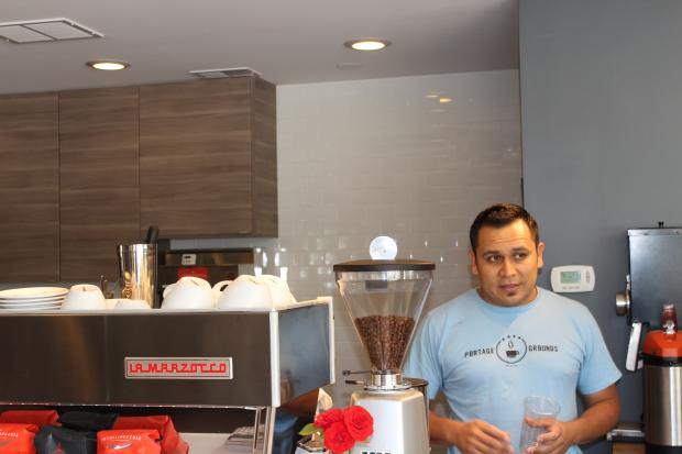 Owner Robert Quezada opened Portage Grounds after realizing there was nowhere to have a cup of coffee near Portage Park.