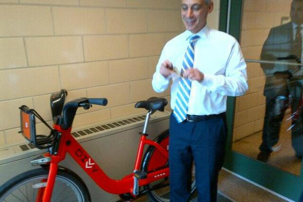 Rahm Emanuel took Divvy's red bike out for a spin as a new station was opened on Aug. 1.