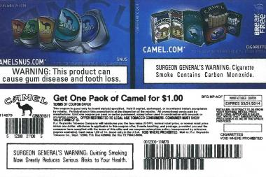 Coupons like this one, for $1 packs of cigarettes, were distributed illegally at a Lakeview bar, city officials said.