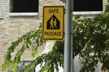 A man was killed along a CPS Safe Passage route Saturday night. Here, an Englewood Safe Passage sign is pictured.