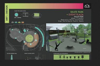 A rendering of the Walsh Park Skate Park and Event Plaza.