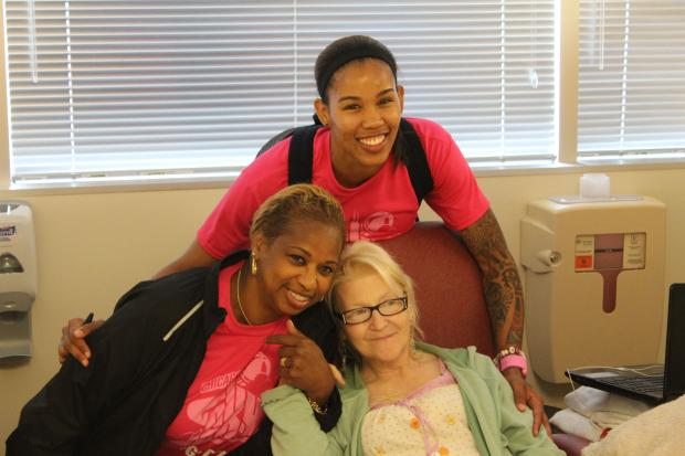 On the eve of  a big game  that could clinch the first playoff spot in her team's history,  Chicago Sky  forward  Tamera Young  spent Thursday afternoon at a hospital in Uptown boosting the morale of folks facing bigger struggles than basketball.