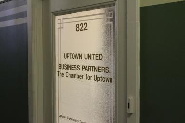 The joint offices of Uptown United and Business Partners, the Chamber for Uptown, located in the Bridgeview Bank Building at 4753 N. Broadway.