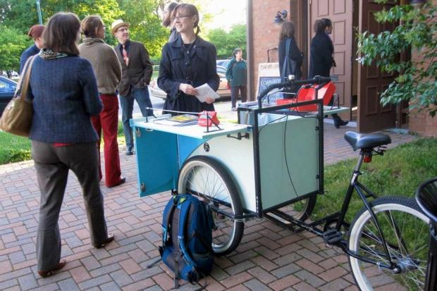 The Read/Write Library's three-wheeled mobile lending library was stolen from a Logan Square yard Sunday.