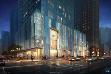 A rendering of a development proposed for 200 N. Michigan Ave. was unveiled at a public meeting Thursday.