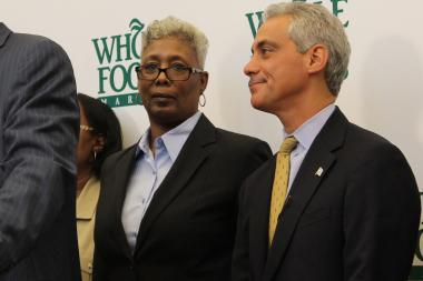 Ald. JoAnn Thompson, with Mayor Rahm Emanuel, said she's satisfied with police deployment in Englewood.