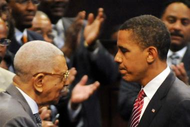 Bishop Arthur M. Brazier shakes hands with then-presidential hopeful Barack Obama at the Apostolic Church of God in 2008.