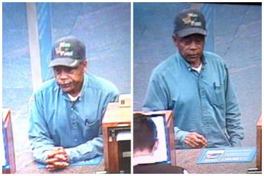 A bank robbery suspect is captured on surveillance video at a BMO Harris Branch, 111 W. Monroe St.
