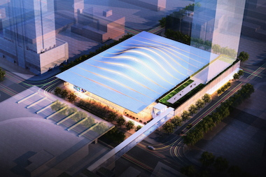 The proposed DePaul University arena at McCormick Place has an undulating roof design.