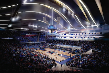 The arena's interior as imagined for a DePaul basketball game.