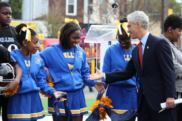 Mayor Rahm Emanuel and Ald. Willie Cochran joined faculty and students at the Dulles School of Excellence, 6311 S. Calumet Ave., to unveil a new turf field.