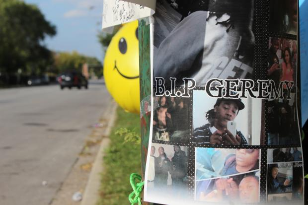 A memorial for Geremy Hoover sits near where he was fatally wounded at 72nd and Wentworth.