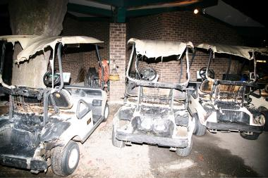 Someone set fire to 45 golf carts — nearly the entire fleet — at Chick Evans Golf Course.