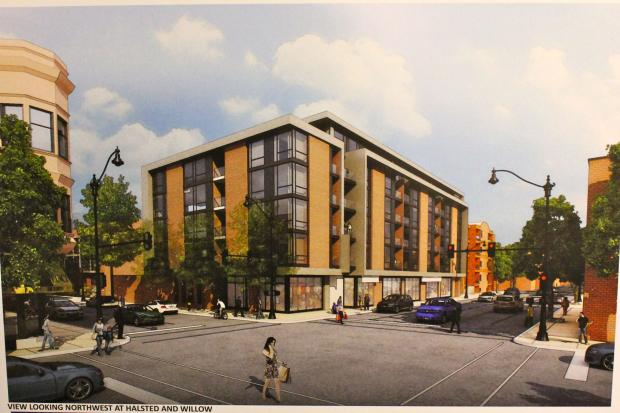 Golub, the developer behind the proposed project at Halsted and Willow streets, revealed renderings of the building at a meeting Monday night.