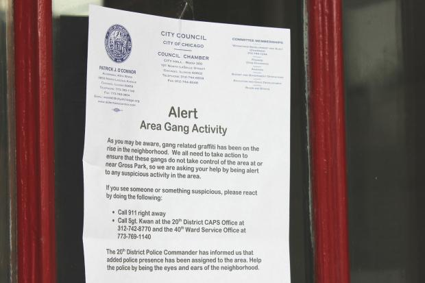 Neighbors in the area surrounding Gross Park were warned of increased gang activity in the vicinity.