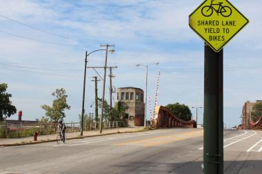 A cyclist travels south on Halsted Street near Archer Avenue, where CDOT is redesigning the Halsted corridor to ensure pedestrian and cyclist safety.