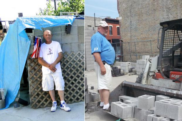 Bruce Johnson, 51, had been squatting on vacant land that at one point was scheduled to be turned into condos, when he decided to use abandoned cinder blocks and bricks to build an 8-foot by 10-foot home for himself.