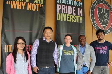 L to R: Qimei Huang, of China, Yue Wang, of China, Mary Hawgood, of Zimbabwe, Joshua German, of Nigeria, and Subarno Saha, of Bangladesh, are just part of the international student body at the Illinois Institute of Technology.