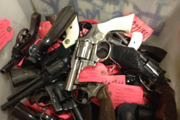 Chicago Police on Monday gave a tour of a West Side warehouse that contains some 69,000 guns seized since around 1940.