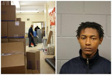 Ahead of August's school opening, boxes lined the halls of Drake Elementary School, 2710 S. Dearborn St. Jabare McChristian, 19, (r.) of the 2800 block of South State Street, was one of several people charged in the stealing of more than 300 iPads from the school.