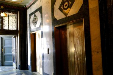 Elevator doors in the Northwest Tower, 1608 N. Milwaukee Ave, in Wicker Park.